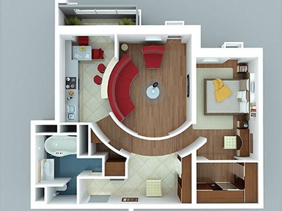 Варианты перепланировки двухкомнатных квартир
