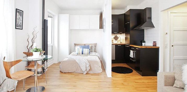 квартира студия,  ремонт в квартире, дизайн квартиры студии, черная кухня