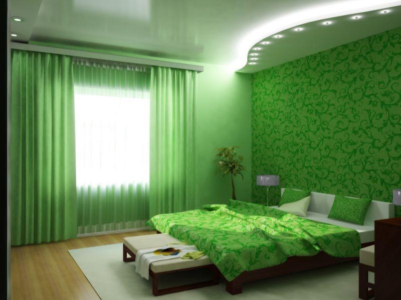 Зеленая спальня, ремонт , интересный дизайн спальни