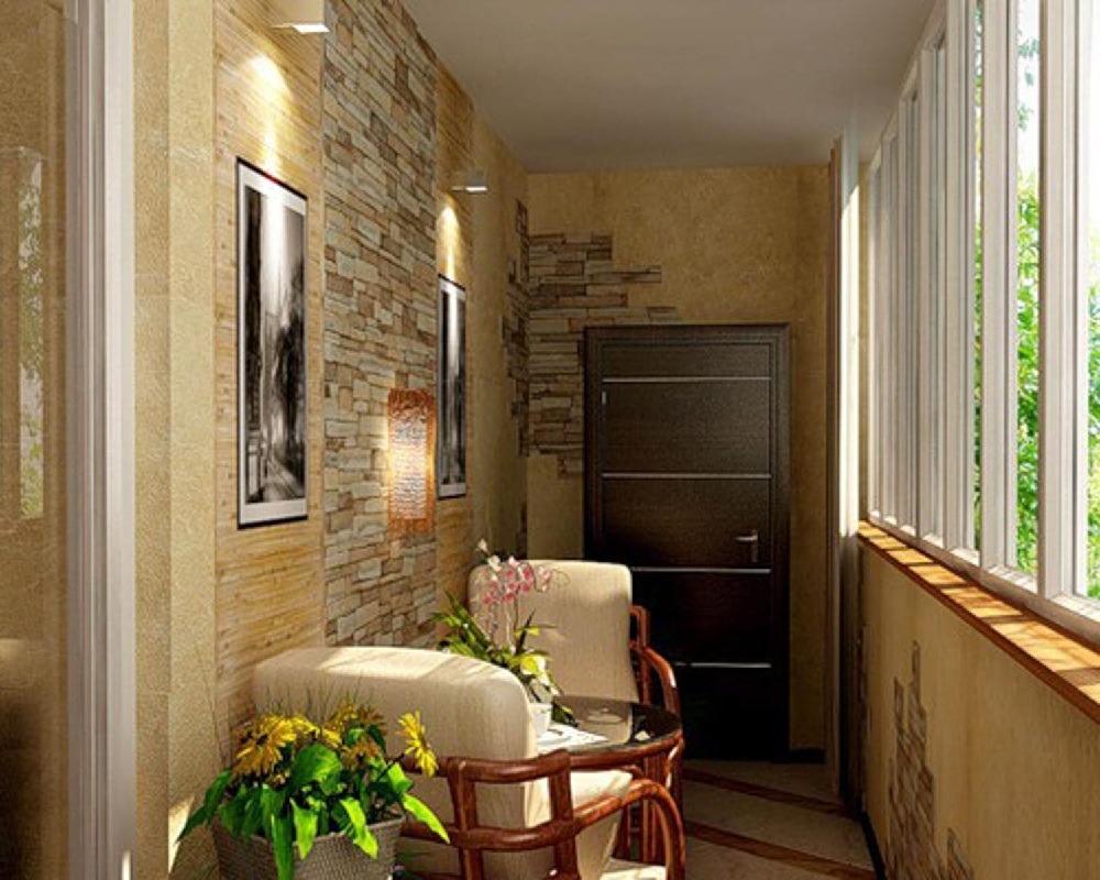 Красивый интерьер на балконе, зона отдыха на лоджии