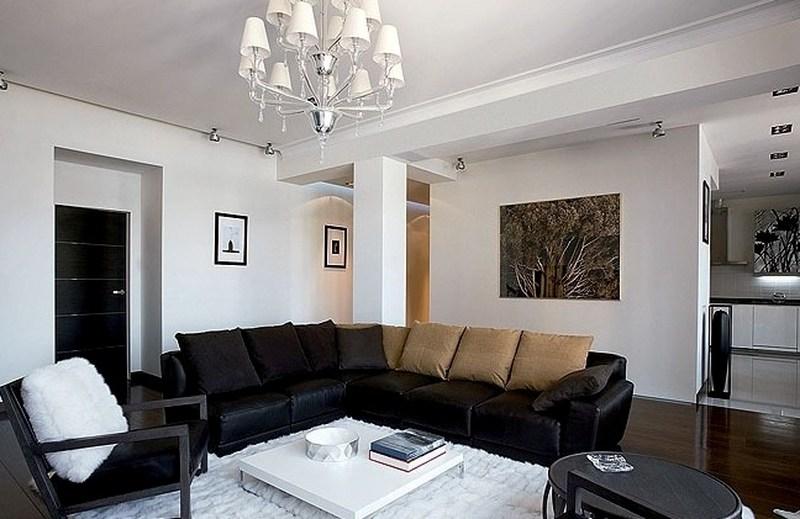 кожаный диван, белая комната, ремонт, евроремонт