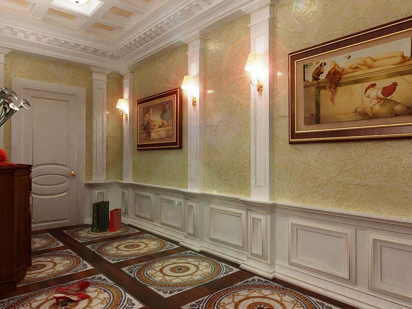высококлассный ремонт, евроремонт, элитный ремонт , колонны в прихожей