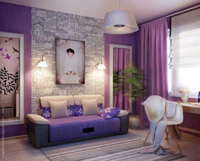 фиолетовая комната, комната с картиной