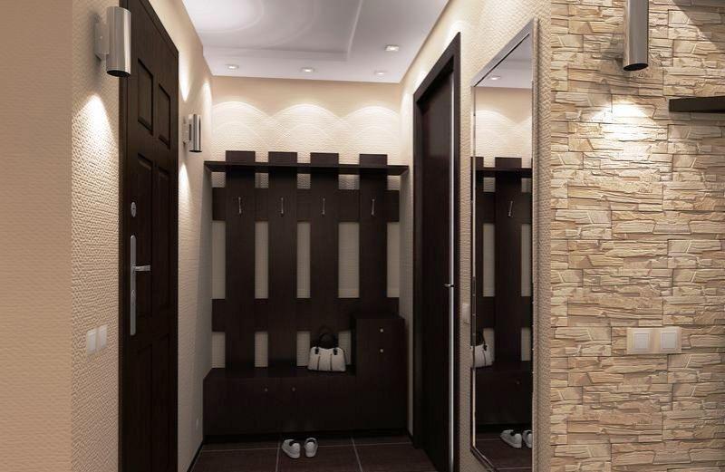 прихожая, ремонт в коридоре,декор кирпича на стенах в прихожей