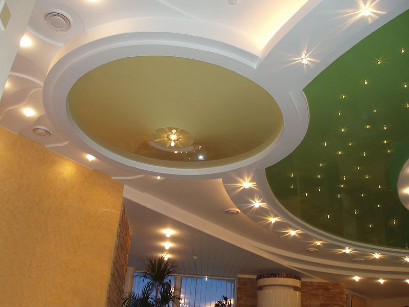 ремонт потолков, натяжные потолки, двухуровневый потолок