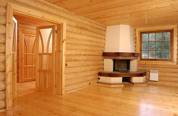 деревянный дом, камин