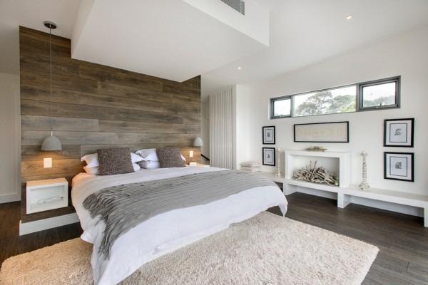 Ламинат на стене, ремонт, отделка стены деревом, Спальня