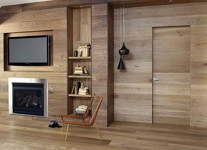 Деревянные стены, деревянный пол, отделка деревом, ремонт квартиры