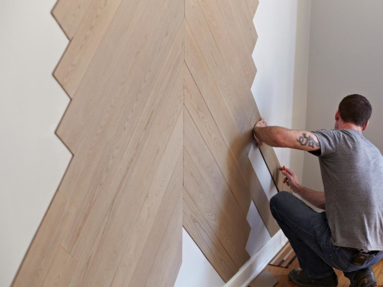 отделка стен ламинатом , вариант укладки ламината на стены, ремонт стен